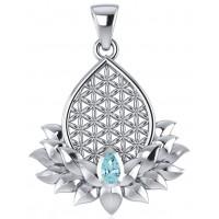 Lotus Flower of Life Blue Topaz Pendant