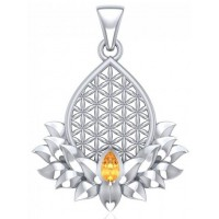 Lotus Flower of Life Citrine Pendant