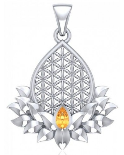 Lotus Flower of Life Citrine Pendant at Tree of Life Journeys, Reconnect with Yourself - Meditation, Law of Attraction, Spiritual Products