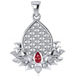 Lotus Flower of Life Garnet Pendant Tree of Life Journeys Reconnect with Yourself - Meditation, Law of Attraction, Spiritual Products