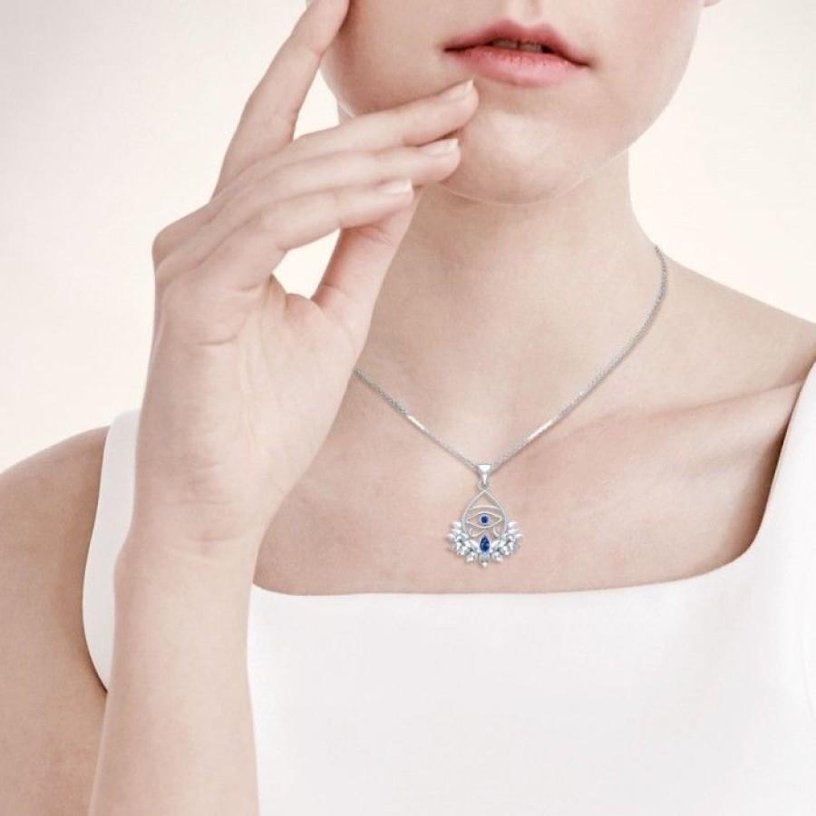 Lotus Eye of Horus Gemstone Pendant - Pagan Jewelry