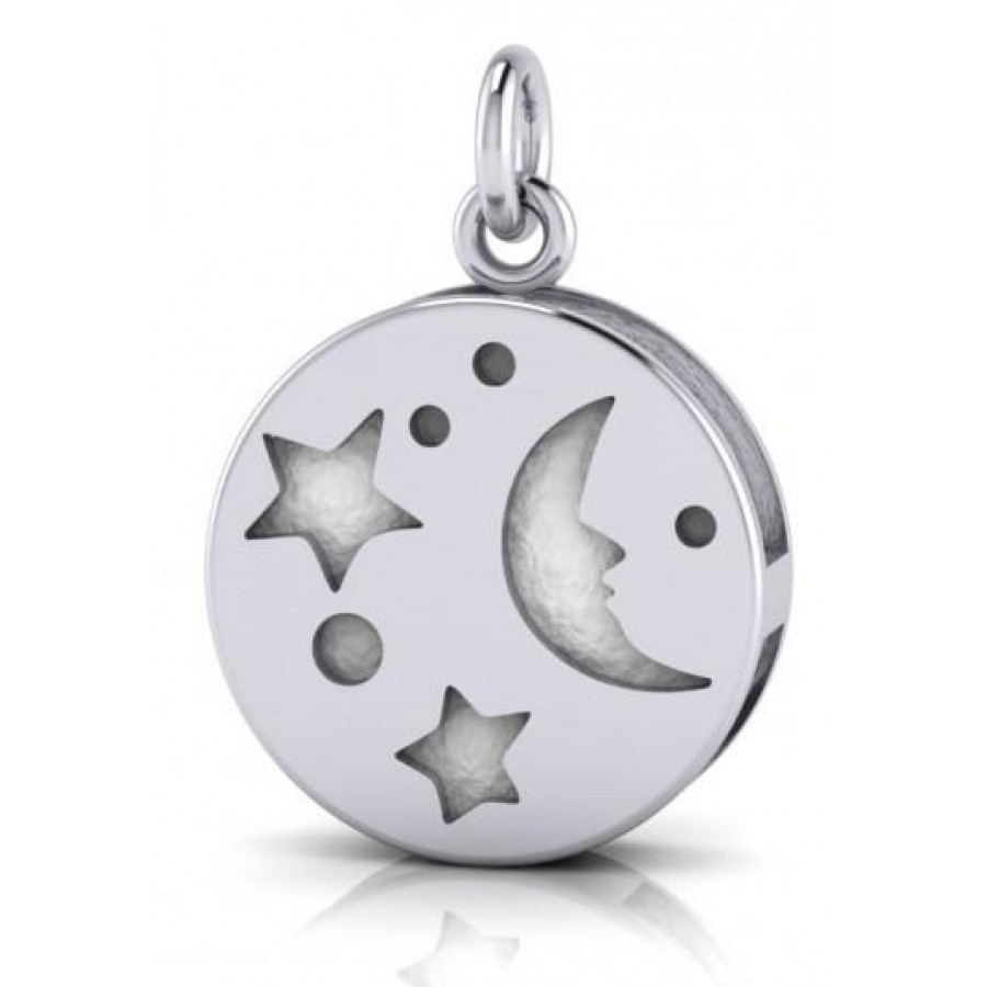 Silver Moon Aromatherapy Pendant for Essential Oils, Perfume Pendant