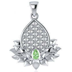 Lotus Flower of Life Peridot Pendant Tree of Life Journeys Reconnect with Yourself - Meditation, Law of Attraction, Spiritual Products