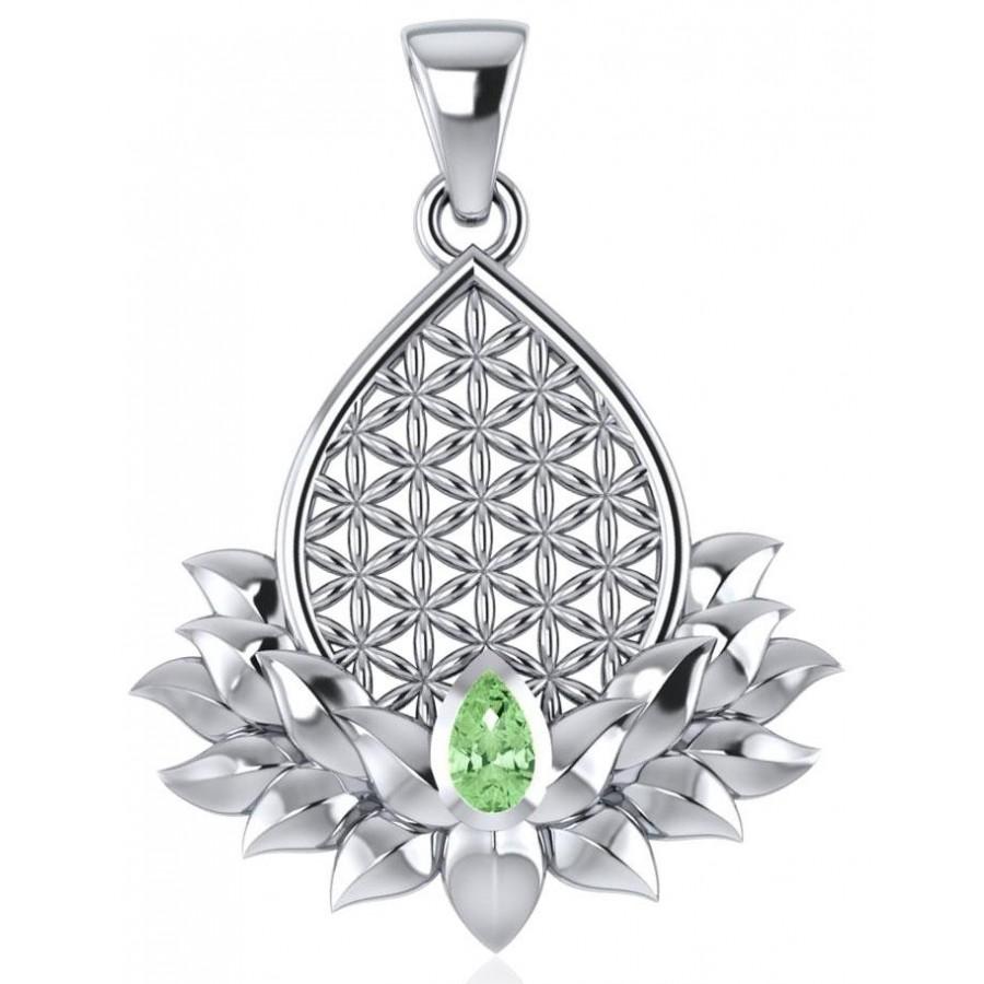 Lotus Flower of Life Peridot Pendant