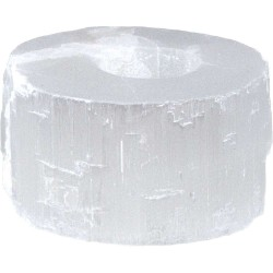 Selenite Flat Tea Light Candle Holder Tree of Life Journeys Reconnect with Yourself - Meditation, Law of Attraction, Spiritual Products