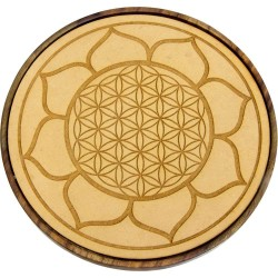 Lotus Flower of Life Wood Crystal Grid Tree of Life Journeys Reconnect with Yourself - Meditation, Law of Attraction, Spiritual Products