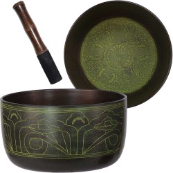 Green Flat Side 6 Inch Singing Bowl Tree of Life Journeys Reconnect with Yourself - Meditation, Law of Attraction, Spiritual Products