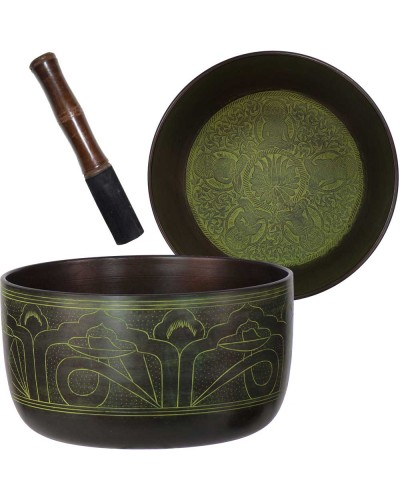 Green Flat Side 6 Inch Singing Bowl at Tree of Life Journeys, Reconnect with Yourself - Meditation, Law of Attraction, Spiritual Products