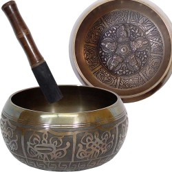 Dhyani Buddhas Large 6 Inch Embossed Singing Bowl Tree of Life Journeys Reconnect with Yourself - Meditation, Law of Attraction, Spiritual Products