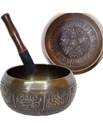 Dhyani Buddhas Large 6 Inch Embossed Singing Bowl at Tree of Life Journeys, Reconnect with Yourself - Meditation, Law of Attraction, Spiritual Products