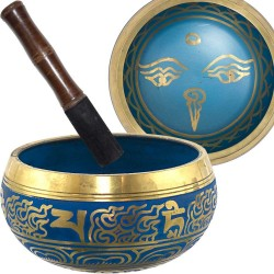 Eye of the Budha 6.5 Inch Blue Singing Bowl Tree of Life Journeys Reconnect with Yourself - Meditation, Law of Attraction, Spiritual Products