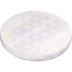 Flower of Life Selenite Charging Disk Tree of Life Journeys Reconnect with Yourself - Meditation, Law of Attraction, Spiritual Products