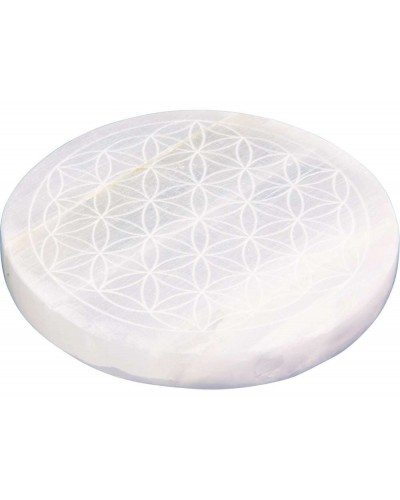 Flower of Life Selenite Charging Disk at Tree of Life Journeys, Reconnect with Yourself - Meditation, Law of Attraction, Spiritual Products