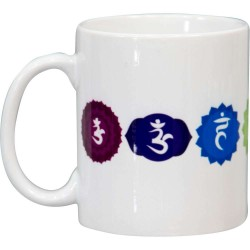7 Chakra White Ceramic Mug Tree of Life Journeys Reconnect with Yourself - Meditation, Law of Attraction, Spiritual Products