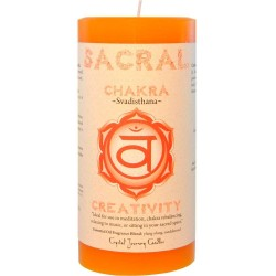 Sacral Chakra Orange Pillar Candle Tree of Life Journeys Reconnect with Yourself - Meditation, Law of Attraction, Spiritual Products