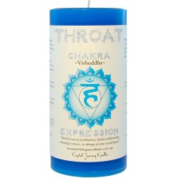 Throat Chakra Blue Pillar Candle Tree of Life Journeys Reconnect with Yourself - Meditation, Law of Attraction, Spiritual Products