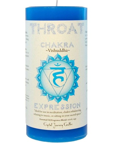 Throat Chakra Blue Pillar Candle at Tree of Life Journeys, Reconnect with Yourself - Meditation, Law of Attraction, Spiritual Products