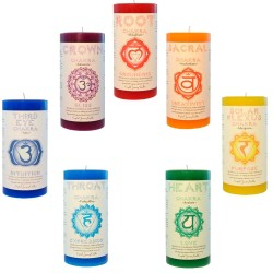 Chakra Pillar Candles - Set of 7 Tree of Life Journeys Reconnect with Yourself - Meditation, Law of Attraction, Spiritual Products