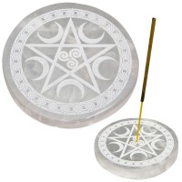Selenite Pentacle Incense Holder/Charging Plate