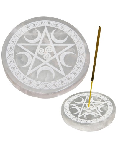 Selenite Pentacle Incense Holder/Charging Plate at Tree of Life Journeys, Reconnect with Yourself - Meditation, Law of Attraction, Spiritual Products