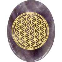 Amethyst Flower of Life Worry Stone