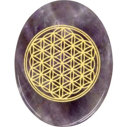 Amethyst Flower of Life Worry Stone Tree of Life Journeys Reconnect with Yourself - Meditation, Law of Attraction, Spiritual Products
