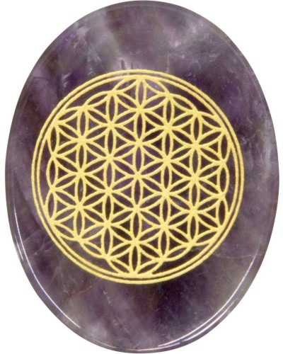 Amethyst Flower of Life Worry Stone at Tree of Life Journeys, Reconnect with Yourself - Meditation, Law of Attraction, Spiritual Products