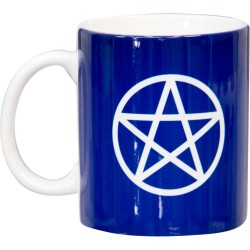 Pentacle Blue Ceramic Mug Tree of Life Journeys Reconnect with Yourself - Meditation, Law of Attraction, Spiritual Products