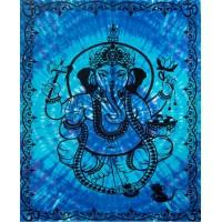 Ganesha Blue Tie-Dye Tapestry
