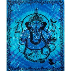 Ganesha Blue Tie-Dye Tapestry Tree of Life Journeys Reconnect with Yourself - Meditation, Law of Attraction, Spiritual Products
