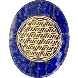 Lapis Lazuli Flower of Life Worry Stone Tree of Life Journeys Reconnect with Yourself - Meditation, Law of Attraction, Spiritual Products