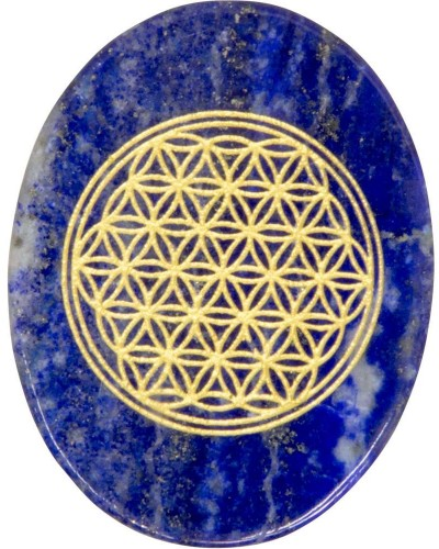 Lapis Lazuli Flower of Life Worry Stone at Tree of Life Journeys, Reconnect with Yourself - Meditation, Law of Attraction, Spiritual Products
