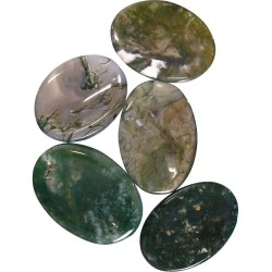 Moss Agate Worry Stone Tree of Life Journeys Reconnect with Yourself - Meditation, Law of Attraction, Spiritual Products