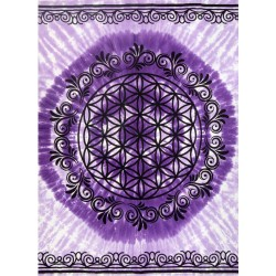 Flower of Life Purple Tapestry Tree of Life Journeys Reconnect with Yourself - Meditation, Law of Attraction, Spiritual Products