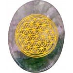 Rainbow Fluorite Flower of Life Worry Stone at Tree of Life Journeys, Reconnect with Yourself - Meditation, Law of Attraction, Spiritual Products