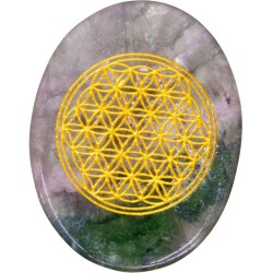 Rainbow Fluorite Flower of Life Worry Stone Tree of Life Journeys Reconnect with Yourself - Meditation, Law of Attraction, Spiritual Products
