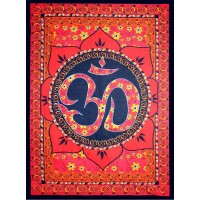 Red Om Lotus Tapestry