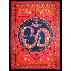 Red Om Lotus Tapestry Tree of Life Journeys Reconnect with Yourself - Meditation, Law of Attraction, Spiritual Products