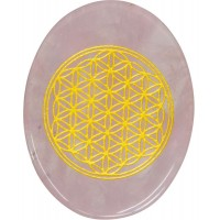 Rose Quartz Flower of Life Worry Stone