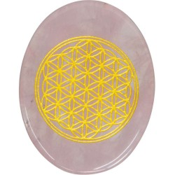 Rose Quartz Flower of Life Worry Stone Tree of Life Journeys Reconnect with Yourself - Meditation, Law of Attraction, Spiritual Products