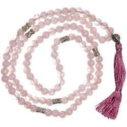 Rose Quartz Prayer Bead Mala with Counters Tree of Life Journeys Reconnect with Yourself - Meditation, Law of Attraction, Spiritual Products