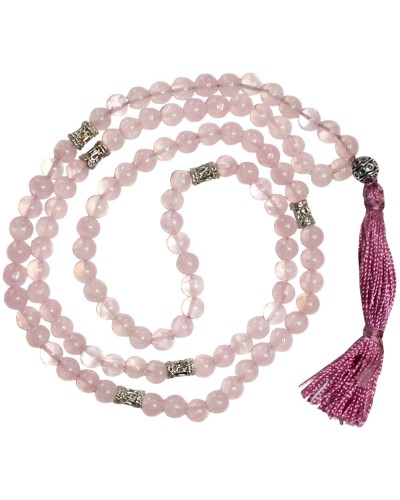 Rose Quartz Prayer Bead Mala with Counters at Tree of Life Journeys, Reconnect with Yourself - Meditation, Law of Attraction, Spiritual Products