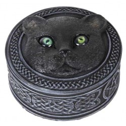 Black Cat Trinket Box with Rolling Eyes Tree of Life Journeys Reconnect with Yourself - Meditation, Law of Attraction, Spiritual Products