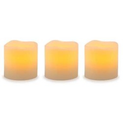 Unscented LED Pillar Candles with Timer - Set of 3