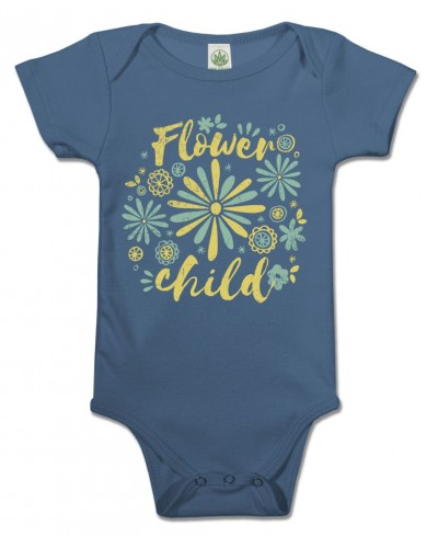 Flower Child Organic Baby Onesie at Tree of Life Journeys, Reconnect with Yourself - Meditation, Law of Attraction, Spiritual Products