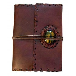 Leather Gemstone Blank Book With Cord - 7 Inches