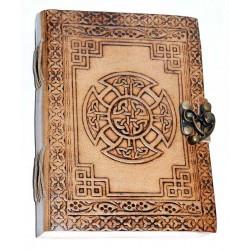 Celtic Cross Leather Blank 7 Inch Journal with Latch Tree of Life Journeys Reconnect with Yourself - Meditation, Law of Attraction, Spiritual Products