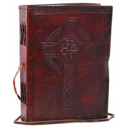 Celtic Cross Leather Blank 8 Inches Journal with Cord Tree of Life Journeys Reconnect with Yourself - Meditation, Law of Attraction, Spiritual Products