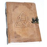 Triquetra Leather Blank 7 Inch Journal with Latch at Tree of Life Journeys, Reconnect with Yourself - Meditation, Law of Attraction, Spiritual Products