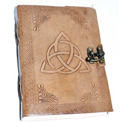 Triquetra Leather Blank 7 Inch Journal with Latch Tree of Life Journeys Reconnect with Yourself - Meditation, Law of Attraction, Spiritual Products